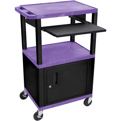 """Luxor 42"""" A/V Cart with 3 Shelves, Pull-Out Keyboard Tray, Cabinet and Electric Assembly (Purple Shelves, Black Legs)"""