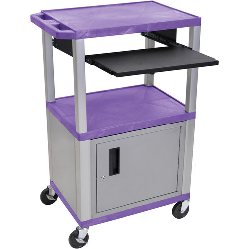 "Luxor 42"" A/V Cart with 3 Shelves, Pull-Out Keyboard Tray, Cabinet and Electric Assembly (Purple Shelves, Nickel Legs)"