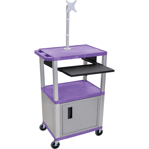 """Luxor 42"""" A/V Cart with Monitor Mount, 3 Shelves, Cabinet, Pull-Out Keyboard Tray and Electric Assembly (Purple Shelves, Nickel Legs)"""
