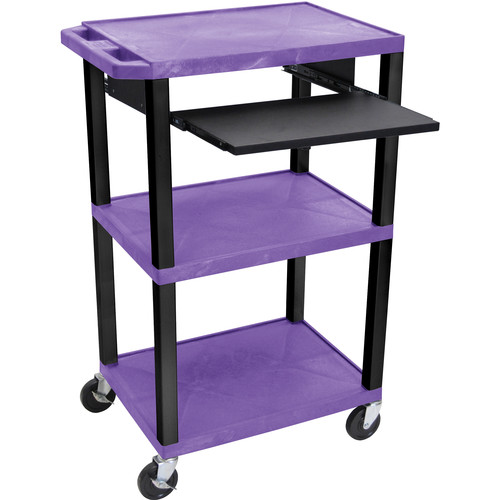 "Luxor 42"" A/V Cart with 3 Shelves, Pull-Out Keyboard Tray and Electric Assembly (Purple Shelves, Black Legs)"