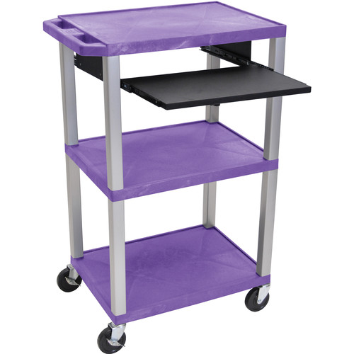 "Luxor 42"" A/V Cart with 3 Shelves, Pull-Out Keyboard Tray, and Electric Assembly (Purple Shelves, Nickel Legs)"