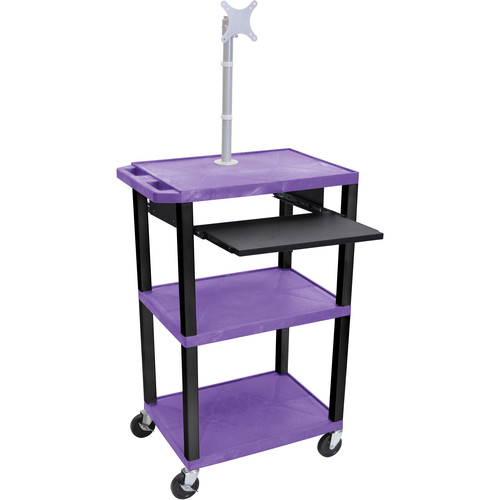"Luxor 42"" A/V Cart with Monitor Mount, 3 Shelves, Pull-Out Keyboard Tray, and Electric Assembly (Purple Shelves, Black Legs)"