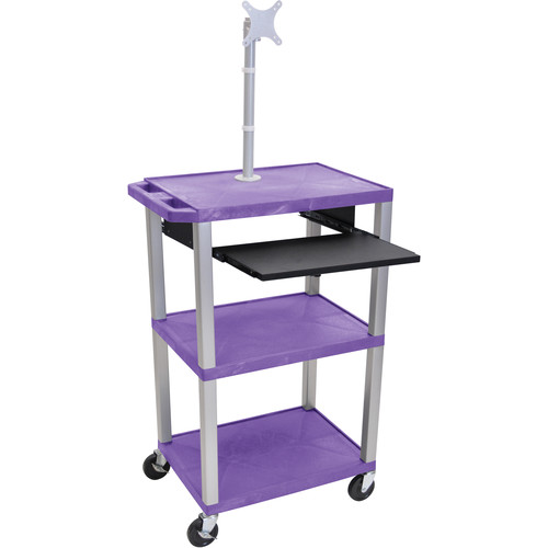 "Luxor 42"" A/V Cart with Monitor Mount, 3 Shelves, Pull-Out Keyboard Tray and Electric Assembly (Purple Shelves, Nickel Legs)"