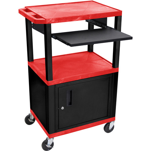 "Luxor 42"" A/V Cart with 3 Shelves, Pull-Out Keyboard Tray, Cabinet and Electric Assembly (Red Shelves, Black Legs)"