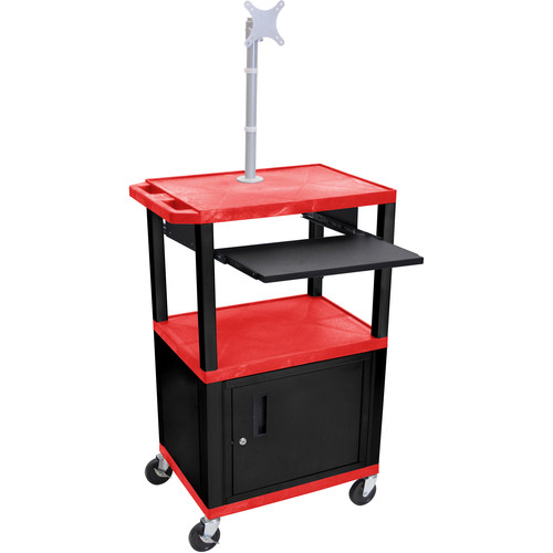 "Luxor 42"" A/V Cart with Monitor Mount, 3 Shelves, Pull-Out Keyboard Tray, Cabinet and Electric Assembly (Red Shelves, Black Legs)"