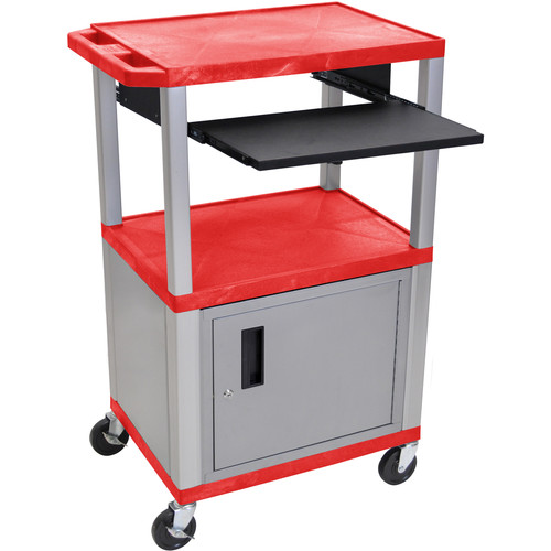 "Luxor 42"" A/V Cart with 3 Shelves, Pull-Out Keyboard Tray, Cabinet and Electric Assembly (Red Shelves, Nickel Legs)"
