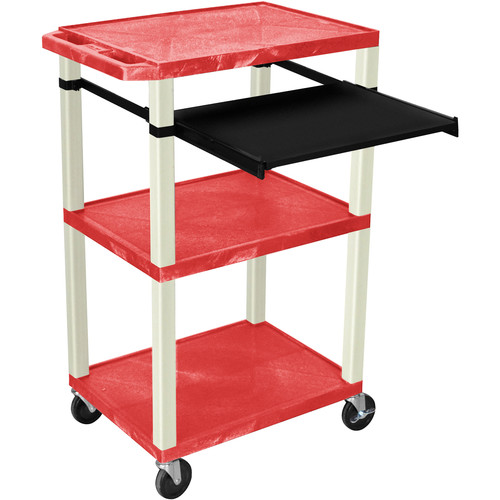 "Luxor 42"" A/V Cart with 3 Shelves, Pull-Out Keyboard Tray, and Electrical Assembly (Red Shelves, Putty Legs)"