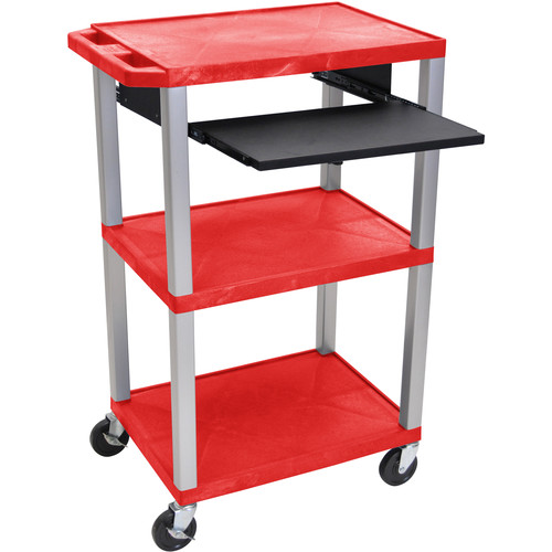 """Luxor 42"""" A/V Cart with 3 Shelves, Pull-Out Keyboard Tray, and Electric Assembly (Red Shelves, Nickel Legs)"""