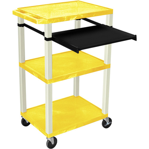 "Luxor 42"" A/V Cart with 3 Shelves, Pull-Out Keyboard Tray (Yellow Shelves, Putty Legs)"