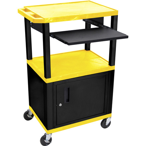 "Luxor 42"" A/V Cart with 3 Shelves, Pull-Out Keyboard Tray, Cabinet and Electric Assembly (Yellow Shelves, Black Legs)"