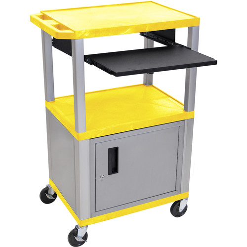 """Luxor 42"""" A/V Cart with 3 Shelves, Pull-Out Keyboard Tray, Cabinet (Yellow Shelves, Nickel Legs)"""