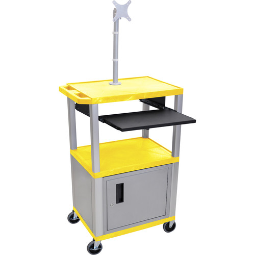 """Luxor 42"""" A/V Cart with Monitor Mount, 3 Shelves, Cabinet, Pull-Out Keyboard Tray and Electric Assembly (Yellow Shelves, Nickel Legs)"""