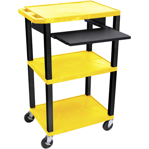 "Luxor 42"" A/V Cart with 3 Shelves, Pull-Out Keyboard Tray and Electric Assembly (Yellow Shelves, Black Legs)"