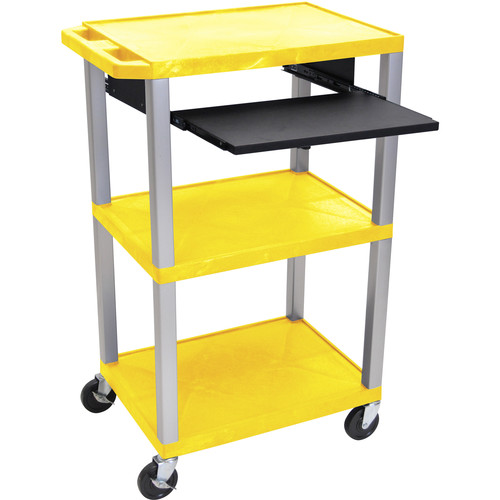 """Luxor 42"""" A/V Cart with 3 Shelves, Pull-Out Keyboard Tray, and Electric Assembly (Yellow Shelves, Nickel Legs)"""