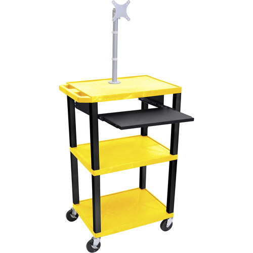 "Luxor 42"" A/V Cart with Monitor Mount, 3 Shelves, Pull-Out Keyboard Tray, and Electric Assembly (Yellow Shelves, Black Legs)"
