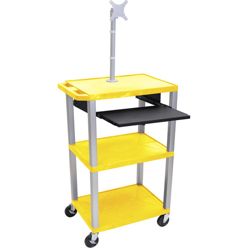 "Luxor 42"" A/V Cart with Monitor Mount, 3 Shelves, Pull-Out Keyboard Tray and Electric Assembly (Yellow Shelves, Nickel Legs)"