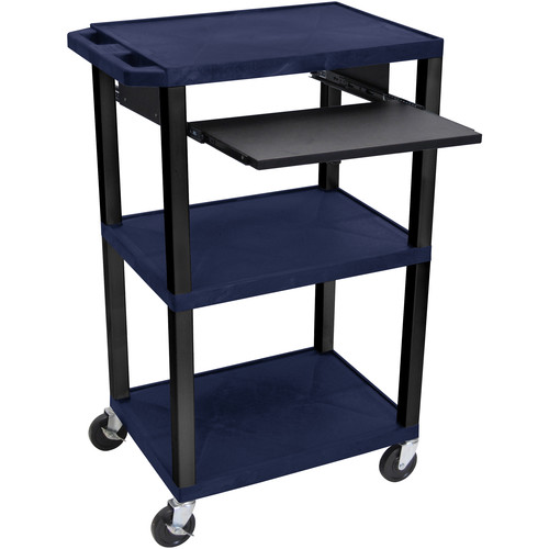 """Luxor 42"""" A/V Cart with 3 Shelves, Pull-Out Keyboard Tray (Navy Shelves, Black Legs)"""