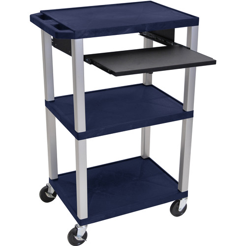 "Luxor 42"" A/V Cart with 3 Shelves, Pull-Out Keyboard Tray, (Navy Shelves, Nickel Legs)"