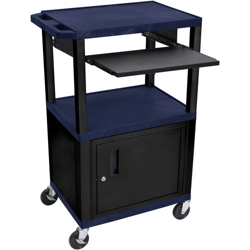 "Luxor 42"" A/V Cart with 3 Shelves, Pull-Out Keyboard Tray, Cabinet and Electric Assembly (Navy Shelves, Black Legs)"