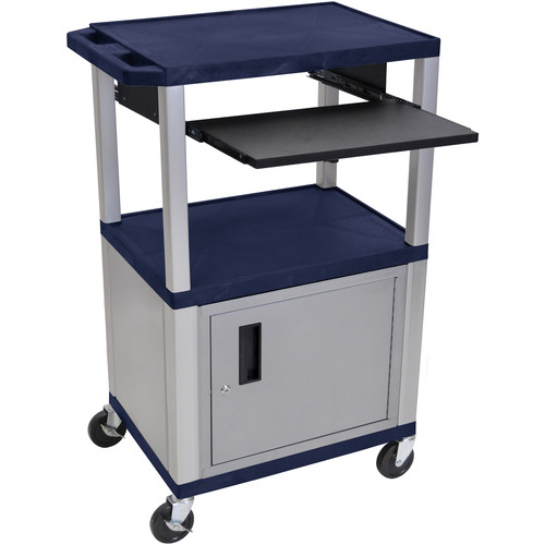 "Luxor 42"" A/V Cart with 3 Shelves, Pull-Out Keyboard Tray, Cabinet (Navy Shelves, Nickel Legs)"