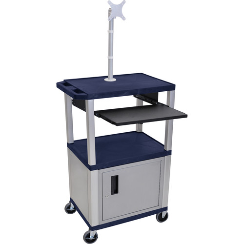 """Luxor 42"""" A/V Cart with Monitor Mount, 3 Shelves, Cabinet, Pull-Out Keyboard Tray and Electric Assembly (Navy Shelves, Nickel Legs)"""