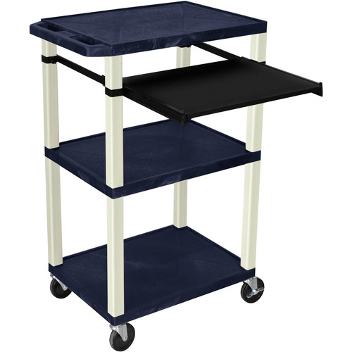 "Luxor 42"" A/V Cart with 3 Shelves, Pull-Out Keyboard Tray, and Electrical Assembly (Navy Shelves, Putty Legs)"