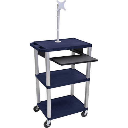 "Luxor 42"" A/V Cart with Monitor Mount, 3 Shelves, Pull-Out Keyboard Tray and Electric Assembly (Navy Shelves, Nickel Legs)"