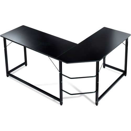 Luxxetta L-Shaped Office Computer Desk (Black Table & Frame)