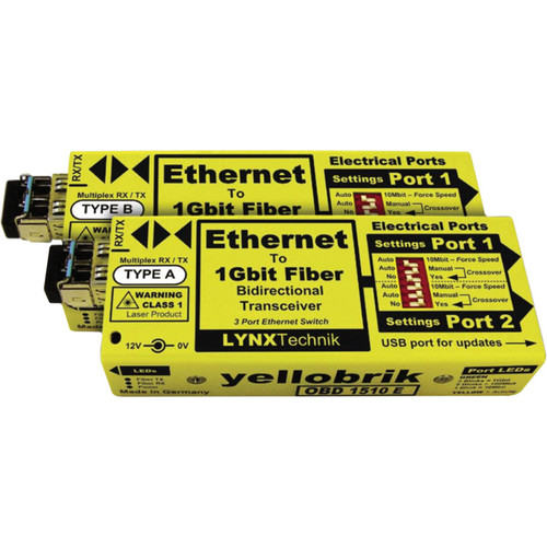 Lynx Technik AG yellobrik OBD 1510 E Ethernet to 1Gbit Fiber Bi-directional Transceiver Pair