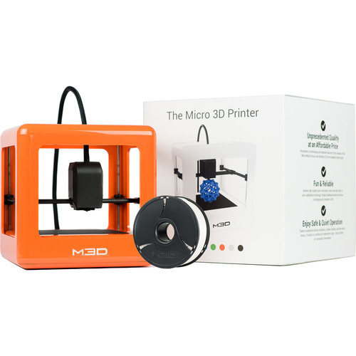 M3D Micro 3D Printer with PLA Neutral Filament Bundle Kit (Orange, Retail Edition)