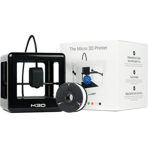 M3D Micro 3D Printer with PLA Neutral Filament Bundle Kit (Black, Retail Edition)