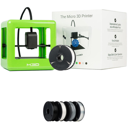 M3D Micro 3D Printer with PLA Neutral Filament Bundle Kit (Green, Retail Edition)