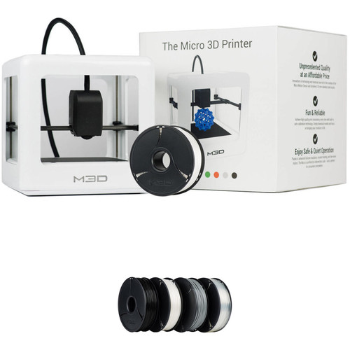 M3D Micro 3D Printer with PLA Neutral Filament Bundle Kit (White, Retail Edition)