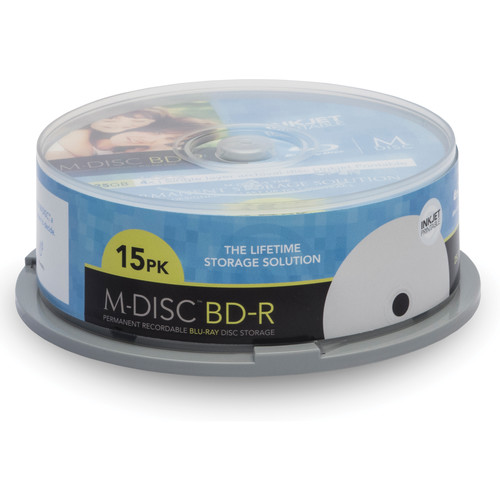 M-DISC 25GB Inkjet Printable BD-R 4x Discs (15-Pack Spindle)