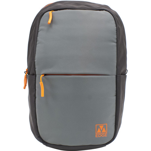 "M-Edge Tech 15"" Laptop Backpack with Built-In Battery (Gray/Orange)"