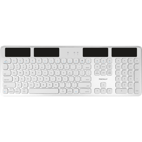 Macally Solar-Powered Rechargeable Slim Bluetooth Keyboard for Mac (Light Gray/White)
