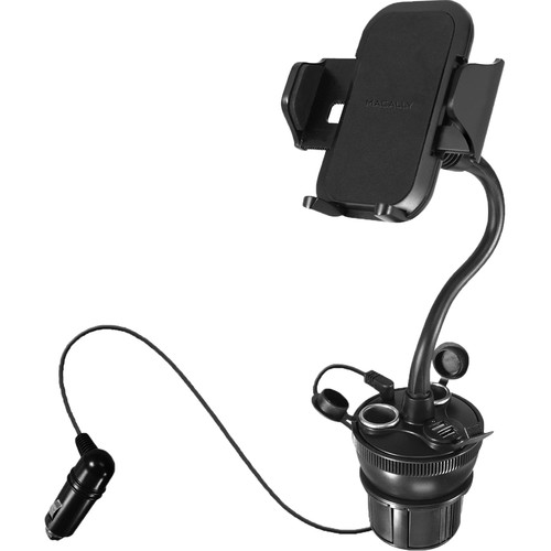 Macally Car Cup Holder Mount with 2 USB Ports & 2 Cigarette Lighter Sockets