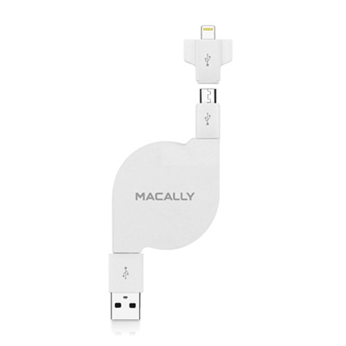 Macally Retractable Sync and Charge Cable for Lightning Devices, Most Smartphones & Tablets (White)