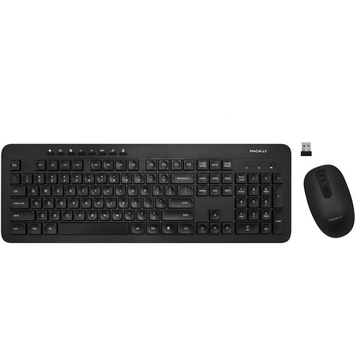 Macally Deluxe Wireless Full-Size Wireless RF Keyboard with Mouse for PC (Black)