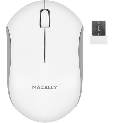 Macally Wireless 3-Button Optical RF Mouse for Mac/PC (White)