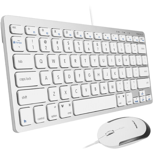 Macally Compact USB Wired Keyboard and Quiet-Click  Mouse (wired) Combo (Aluminum)