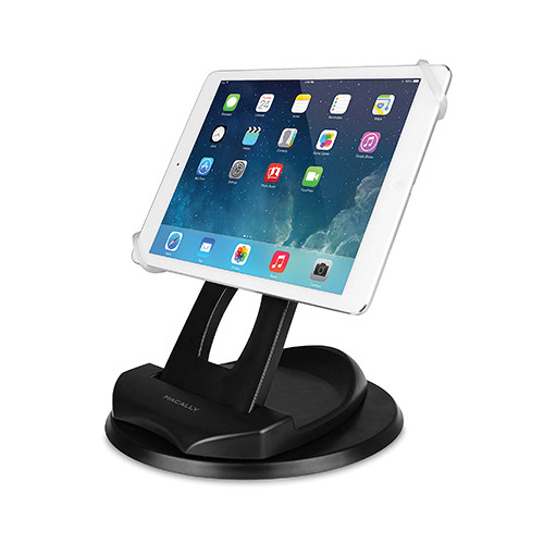 Macally SPINGRIP 2-in-1 Swivel Desk Stand and Hand Strap Tablet Holder