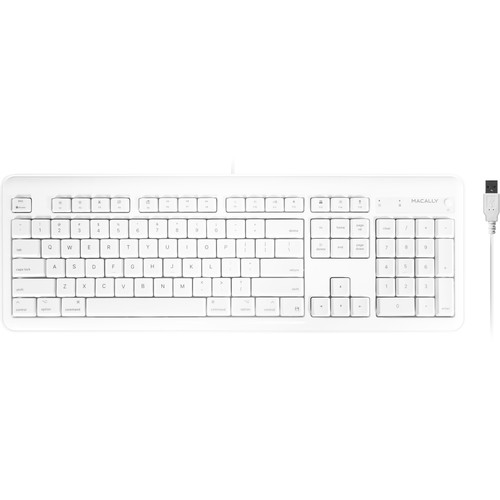 Macally Full Size USB Keyboard with 2 USB Ports for Mac