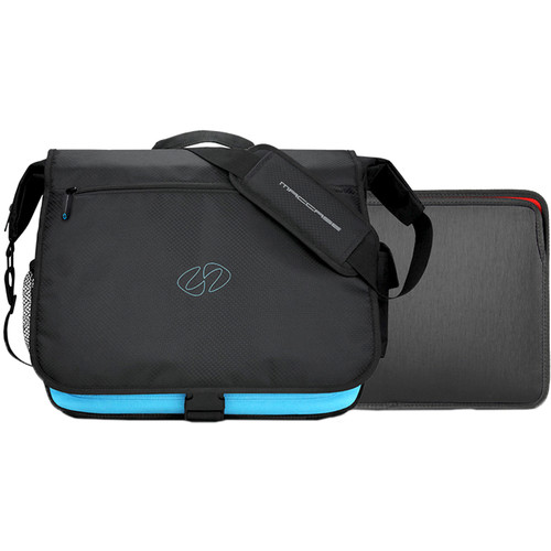 "MacCase MBPM-13 MacBook Pro Messenger Bag with 13"" Sleeve (Black/Cyan, Silver)"