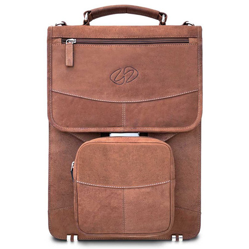 MacCase Premium Leather Flight Case with Backpack Straps and Extra Large Pouch (Vintage Brown)