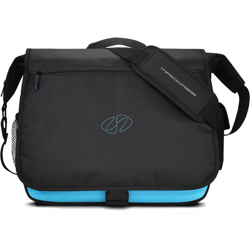 """MacCase Universal Messenger Bag for Laptops & Tablets up to 15.4"""" (Black/Cyan)"""