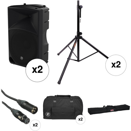 "Mackie Dual Thump15 1000 W 15"" Powered Loudspeaker PA System Kit"
