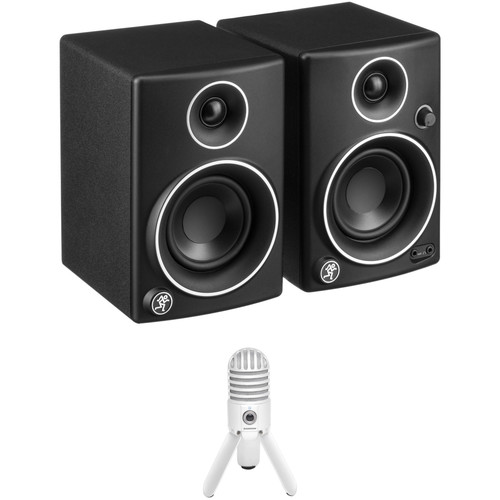 "Mackie CR3 3"" Multimedia Monitors (Pair, Limited Edition Silver Trim) and Samson Meteor Microphone Kit"