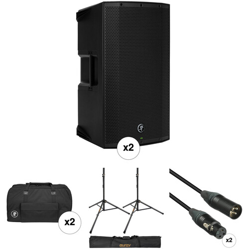 Mackie Dual Thump12A Speaker Kit with Bags, Stands, and Cables
