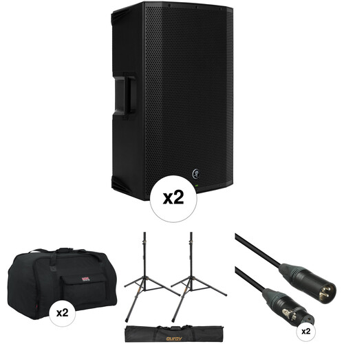 Mackie Dual Thump15A Speaker Kit with Bags, Stands, and Cables